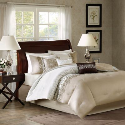 Madison Park Alice 7-Piece Queen Comforter Set in Taupe