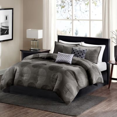 Madison Park Charleston 7-Piece Queen Comforter Set in Grey