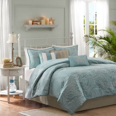 Madison Park Carmel 7-Piece Reversible Queen Comforter Set in Blue