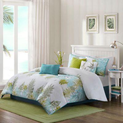 Madison Park Lahaina 7-Piece Queen Comforter Set in Green