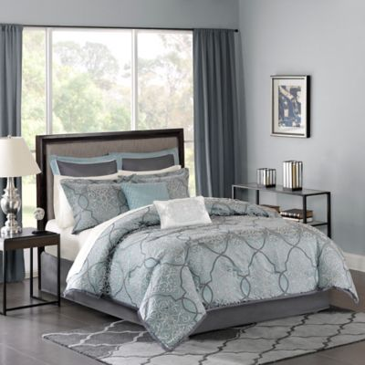 Madison Park Lavine King Comforter Set in Blue