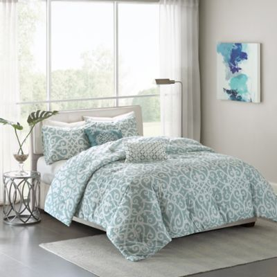 Madison Park Pure Elena 5-Piece Reversible Full/Queen Comforter Set in Aqua