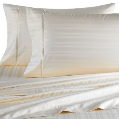 Perfect Touch 625-Thread-Count Queen Deep Pocket Sheet Set in Ivory Stripe