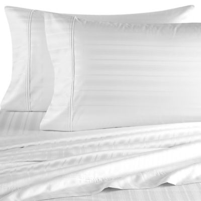 Perfect Touch 625-Thread-Count California King Deep Pocket Sheet Set in White Stripe