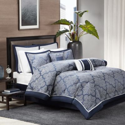 Madison Park Medina 8-Piece King Comforter Set in Navy