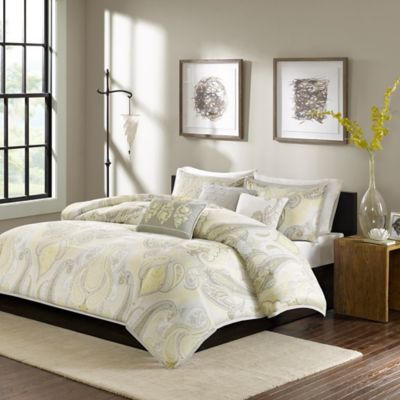 Madison Park Samir 6-Piece Full/Queen Duvet Cover Set in Yellow