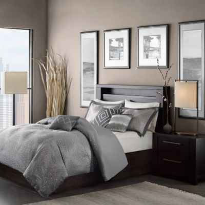Madison Park Quinn Full/Queen Duvet Cover Set in Grey