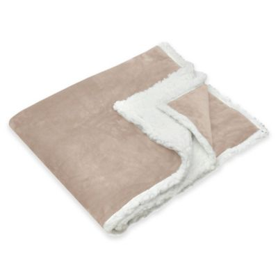 Deluxe Cloud Sherpa Reversible Throw in Tan