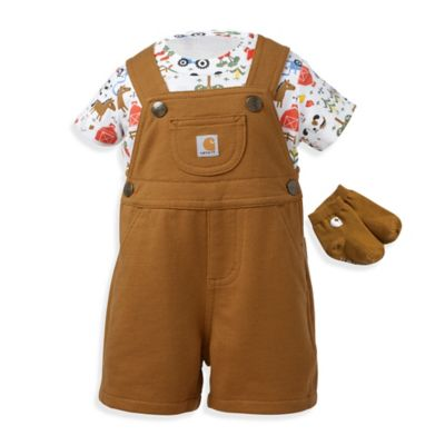 Carhartt® Size 18M 3-Piece Farm Shortall, Bodysuit, and Socks Set in Brown/White