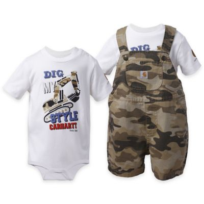"Carhartt® Size 18M 2-Piece ""Dig My Style"" Shortall and Bodysuit Set in Camo/White"