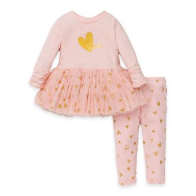 Guess® Size 12M 2-Piece Long Sleeve Tutu Dress and Legging Set in Pink/Gold