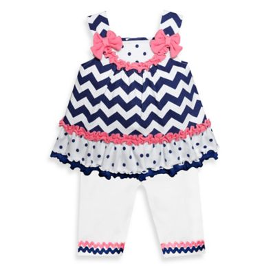 Baby Essentials Size 18M 2-Piece Dot/Chevron Tunic Top and Legging Set in Navy/Pink