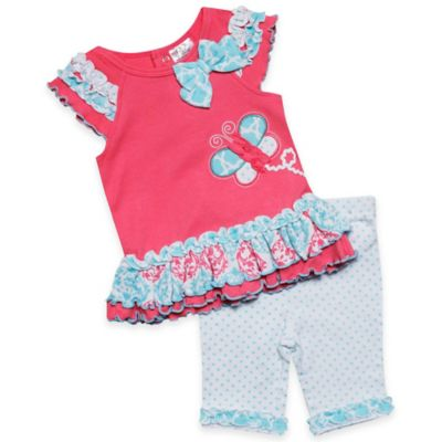 Baby Essentials Size 18M 2-Piece Ruffled Butterfly Top and Legging Set in Coral/Aqua