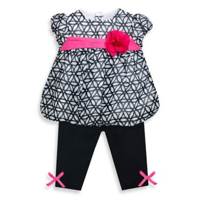 Baby Essentials Size 3M 2-Piece Geometric Chiffon Bubble Top and Legging Set in Pink/Black