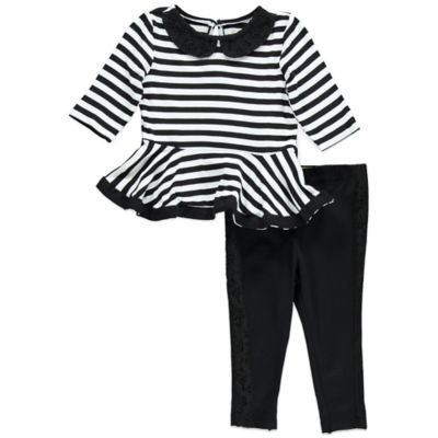 Nicole Miller Size 12M 2-Piece Stripe Peplum Tunic and Legging Set in Black/White