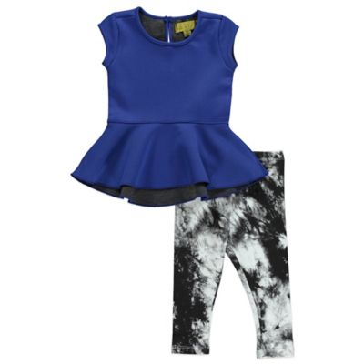 Nicole Miller Size 12M 2-Piece Neoprene Peplum Tunic and Legging Set in Blue/Black