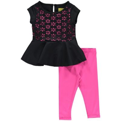 Nicole Miller Size 12M 2-Piece Neoprene Peplum Tunic and Legging Set in Pink/Black