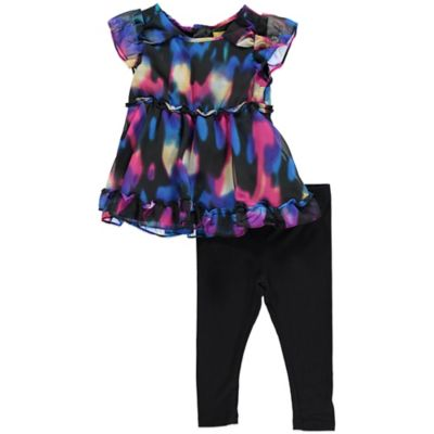 Nicole Miller Size 12M 2-Piece Printed Chiffon Tunic and Legging Set in Multicolor/Black