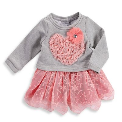 Girls' Clothing (Newborn - 4T) > Nannette Baby® Size 3M 2-Piece French Terry Dress with Lace Skirt and Diaper Cover Set