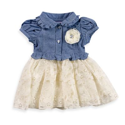 Girls' Clothing (Newborn - 4T) > Nannette Baby® Size 6M 2-Piece Chambray and Lace Dress and Diaper Cover Set in Blue/Ivory