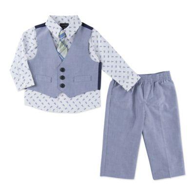Nautica Kids® Size 3-6M 4-Piece Linen Look Vest, Shirt, Tie, and Pant Set in Blue/Khaki