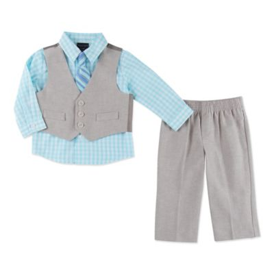 Nautica Kids® Size 3-6M 4-Piece Anchor Vest, Shirt, Tie, and Pant Set in Chambray