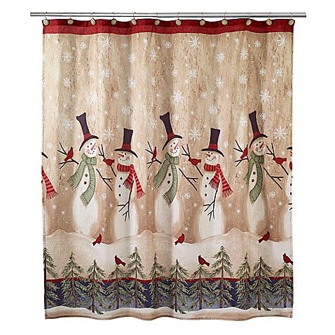 Tall Snowmen Shower Curtain in Ivory - Bed Bath & Beyond