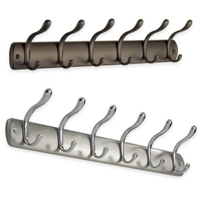 InterDesign® Bruschia Wall-Mount 6-Hook Rack in Bronze