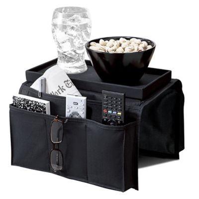 6-Pocket Armrest Organizer with Tray Top in Black