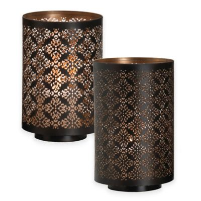 Hurricane Damask 8-Inch Pierced Metal Diamond Candle Holder in Black/Gold