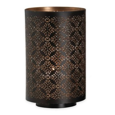 Hurricane Damask 10-Inch Pierced Metal Diamond Candle Holder in Black/Gold