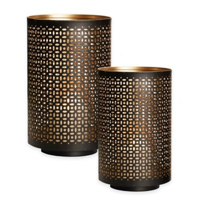 Hurricane Laser Cut 8-Inch Pierced Metal Mesh Candle Holder in Black/Gold