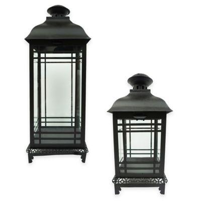 12-Inch Modern Matte Square Lantern Candle Holder in Black