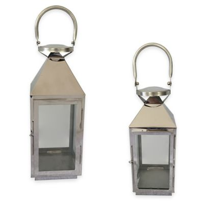 10-Inch Stainless Steel Square Lantern Candle Holder in Silver