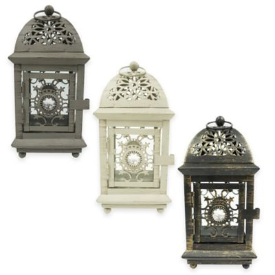 8-Inch Jewel Floral Square Lantern Candle Holder in Ivory