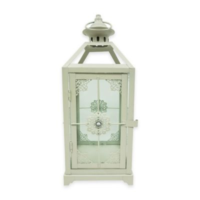 13-Inch Jewel Floral Square Lantern Candle Holder in Cream