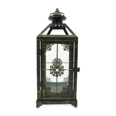 13-Inch Jewel Floral Square Lantern Candle Holder in Bronze