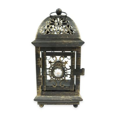 8-Inch Jewel Floral Square Lantern Candle Holder in Bronze