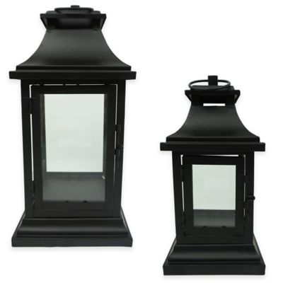 9-Inch Metal Matte Square Lantern Candle Holder in Black