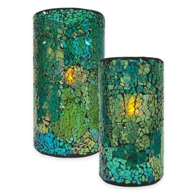 6-Inch Blue/Green Mosaic LED Candle