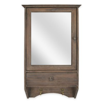 Sheffield Home 2-Shelf Mirror Wall Cabinet with Hooks in Natural