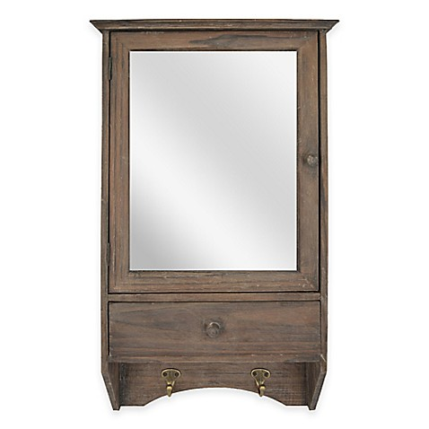 Sheffield home 2 shelf mirror wall cabinet with hooks in for Mirror hooks
