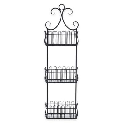 Sheffield Home 3-Tier Wall-Mount Storage Basket in Black