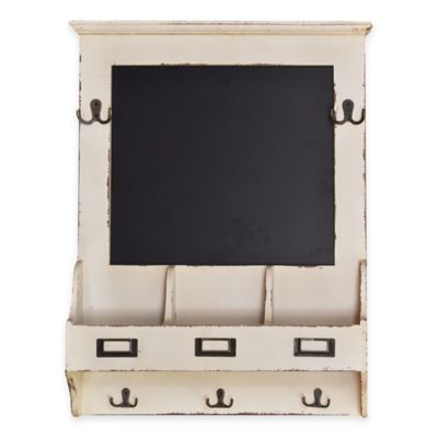 Sheffield Wall-Mount Chalkboard Storage Rack with Cubbies in White
