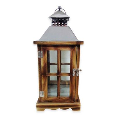 Metal and Wood House Lantern Candle Holder