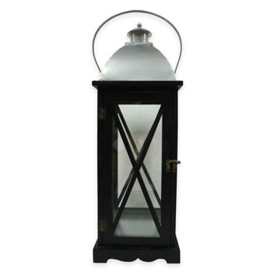 Decorative Wooden Cross Lantern Candle Holder in Silver/Black