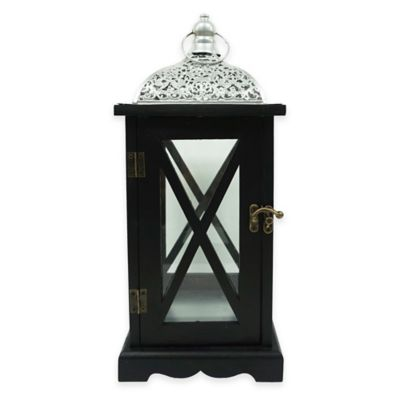 Decorative Wooden Filigree Dome Lantern Candle Holder in Silver/Black