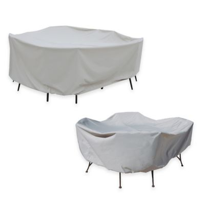 SimplyShade Polyester Protective 48-Inch Round Table and Chairs Cover in White