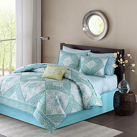Madison Park Essentials Morgan Comforter Set In Blue Bed