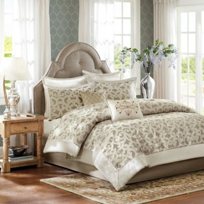 Madison Park Kingsley 8-Piece Queen Comforter Set in Ivory